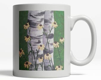 Birch Trees| Floral Birch Design| Floral Mug| Office Mug| Birch 028