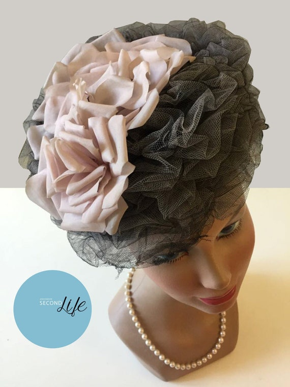 Cappello vintage in tulle e organza _ Vintage tull