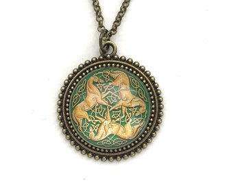 Celtic Horse Necklace, Celtic Knot Jewelry, 3 Horses Design, Green and Gold, Druid Jewelry, Gift for Women, Jewelry Under 20