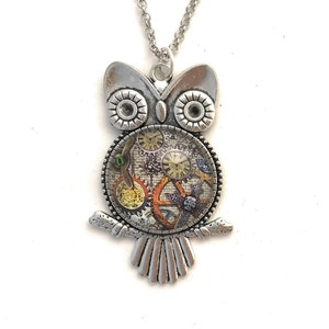 Save Tonight Gothic Steampunk Cog gear Owl charm pendant Lace Choker Israel Hand made