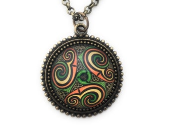 Celtic Knot Necklace -  Abstract Green Yellow and Orange Celtic Design Pendant- Antique Brass - Gift for Women - Druid Necklace