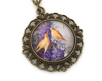 Lilac and Canary Necklace for Women - Bird Necklace  - Vintage Style Jewelry - Gift for Women - Victorian Inspired