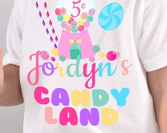 7a51a825 Candyland Birthday Shirt / Candyland Party Supplies / Candyland Birthday / Candyland  Shirt / Party Decorations / Custom Birthday Shirt
