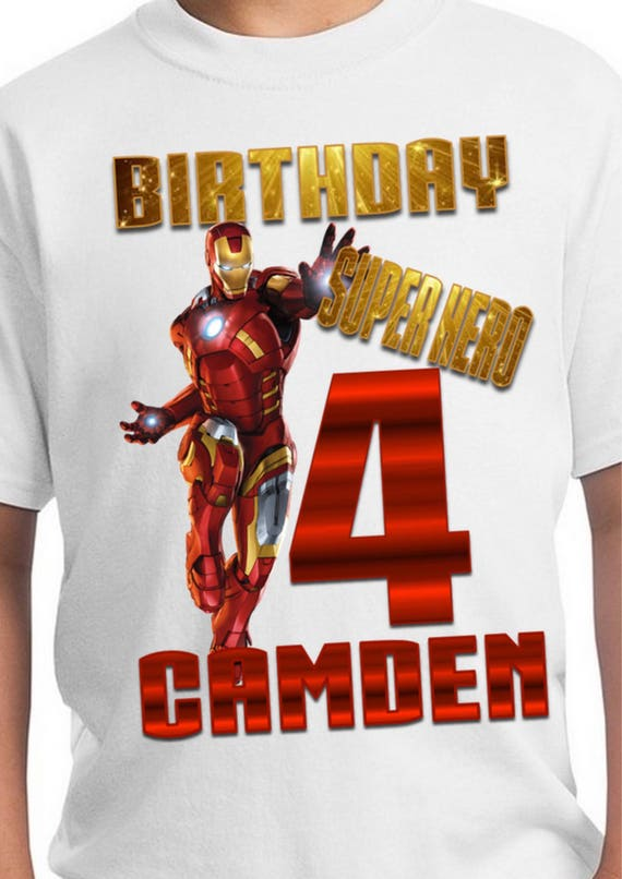 Avengers Iron Man Personalized Birthday T-Shirt Party Favor