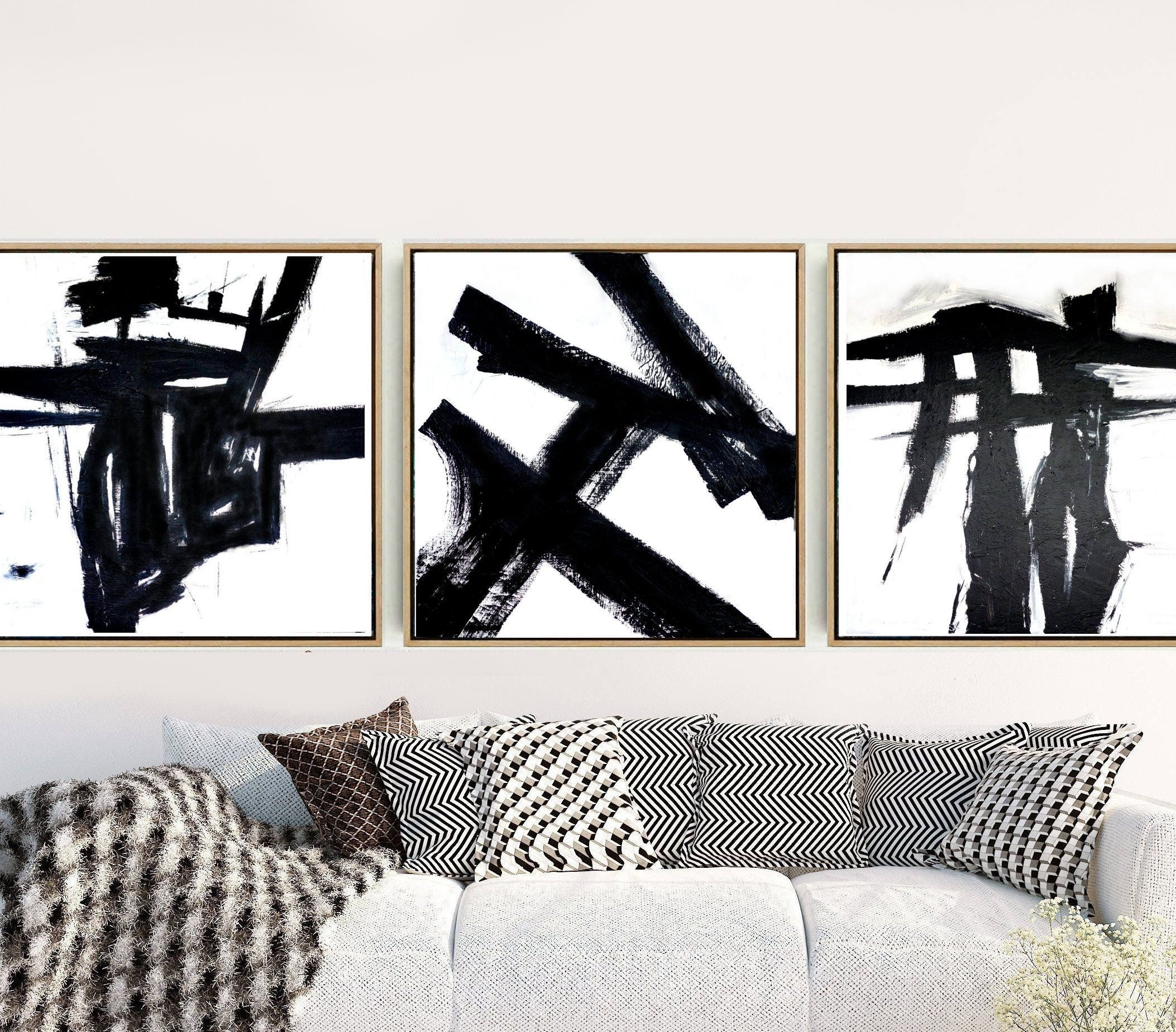 Triptych Wall Art Abstract Art Set of 3 Prints Black And ...