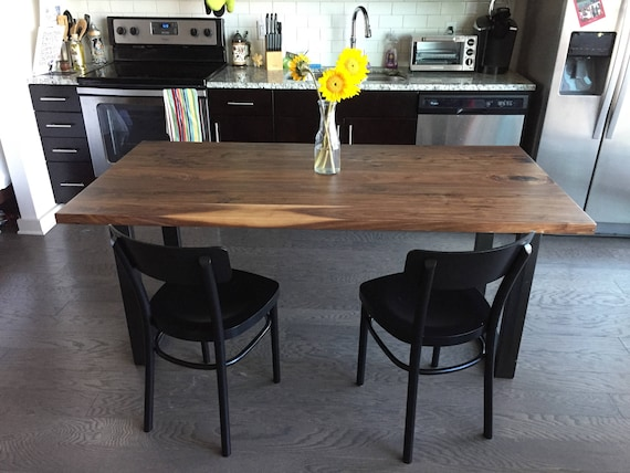 Modern Walnut Solid Wood Dining Table with Square Legs