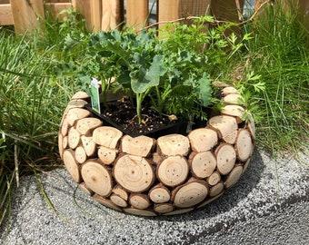Rustic Fir Wood Chip Vase, Planter, Herb Garden, Gift Box, Flower Pot, Wedding Party Centerpiece, Christmas, Birthday, Housewarming