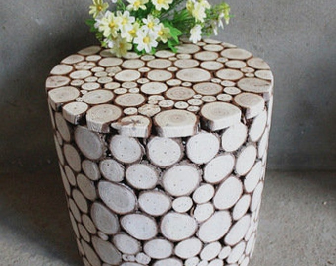 Featured listing image: Rustic Fir Wood End Table, Stool, Accent Table, Night Stand, Home & Office Decor, Plant Stand, Floral Decor, Garden Balcony Decor