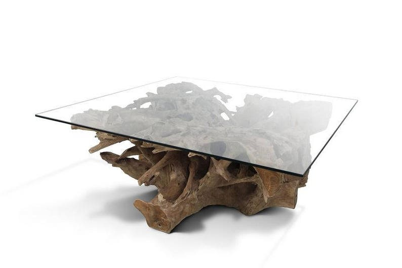 Incredible Teak Root Coffee Table Irregular Shaped With Glass Top Download Free Architecture Designs Scobabritishbridgeorg