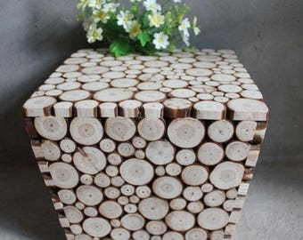Rustic Fir Wood Accent Tables, Side Tables pair, Night Stands, Home & Office Decor,  Birthday, Housewarming