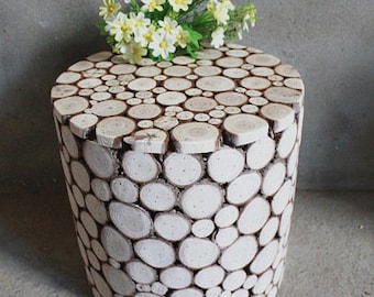 Rustic Fir Wood End Table, Stool, Accent Table, Night Stand, Home & Office Decor, Plant Stand, Floral Decor, Garden Balcony Decor