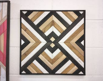 Handmade Rustic Geometric Reclaimed Wooden Wall Art Decor (Black, Brown & White), Perfect Gift: Anniversary, Birthday, Home, Office, Cottage
