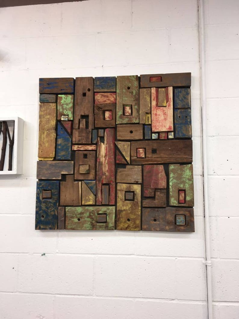 Handcrafted Wooden Wall Decor Reclaimed Wood Wall Colorful Wall Art Abstract Wood Wall Decor Abstract Wall Decoration Eco Luxury Decor