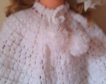 girl crochet white wool Cape