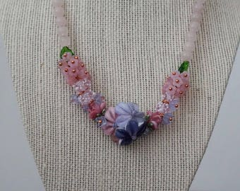 Pretty in Pink Lampwork and Rose Quartz necklace (0249)