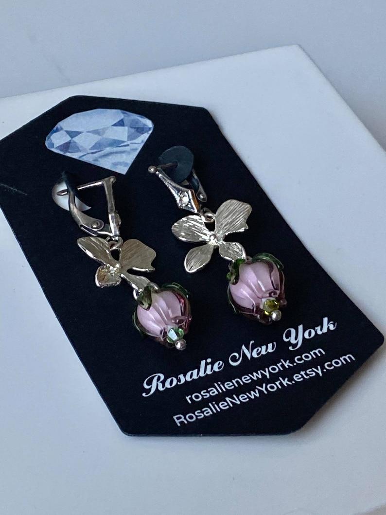 Glasswork Pink Murano rosebuds earrings and Pendant 0626