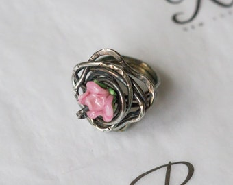 Glasswork Rose 925 Sterling Silver Ring (0311)