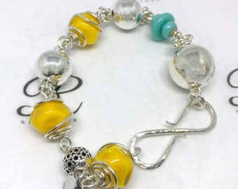 925 Sterling Silver Yellow glasswork Bracelet Amsterdam Collection