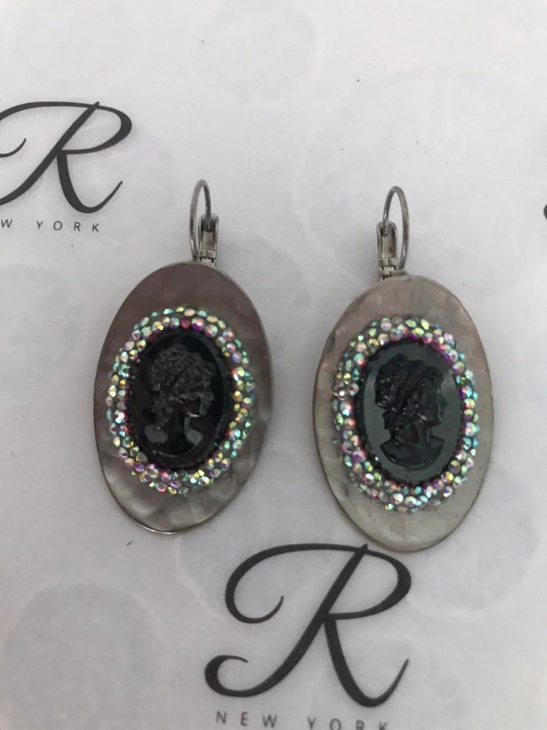 0156 0157 Hematite Cameo  Ring and Earrings set