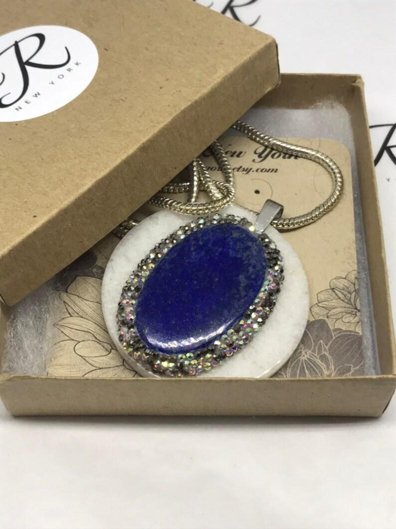 Lapis Lazuli on a White Jade disc 0294