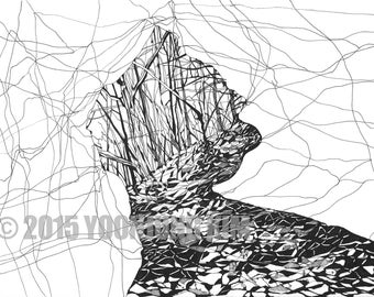 Mountain Cave Landscape Drawing Artwork Coloring Page Nature Design Printable Digital Print Adult Black&White Illustration Line drawing Art