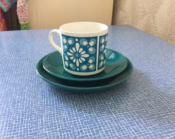 Vintage 1970's cup and saucer with side plate