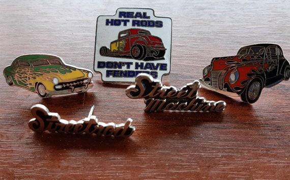 Vintage enamel street rod hat pins