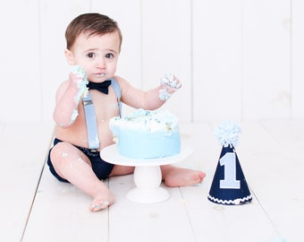 Baby Boy First Birthday Outfit in Blue