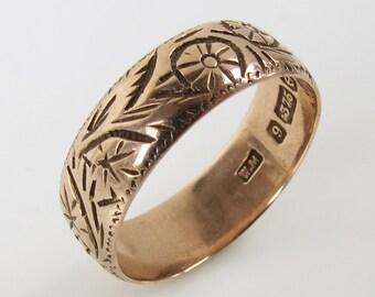 Antique 8k 375 Gold Birmingham 1905 carved gold band ring