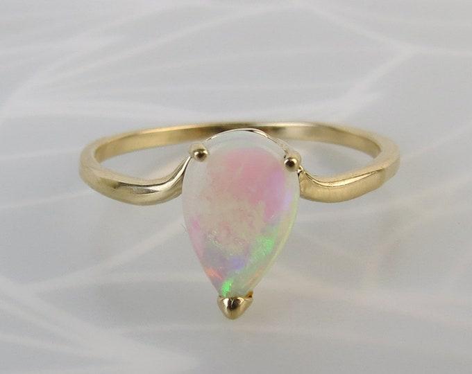 Super flash of green blue tear drop opal 14k gold ring size 6.5