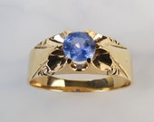 Antique 10k yellow gold belcher mounted natural lavender blue .87 carat sapphire ring by Heintz Bros size 11