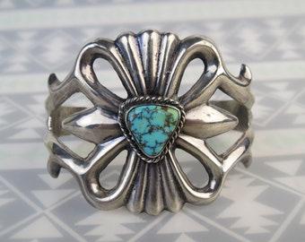 Sterling Silver Sandcast Rustic Cuff Bracelet  Kingman Turquoise  Navajo Handmade  Southwest Jewelry  Boho hippie cuff  Old Style