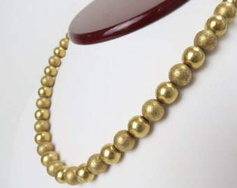 Mid Century 1/20 12k Gold Filled brushed & smooth gold bead necklace choker , 1950s