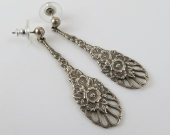 Sterling silver long floral dangle pierced vintage  earrings