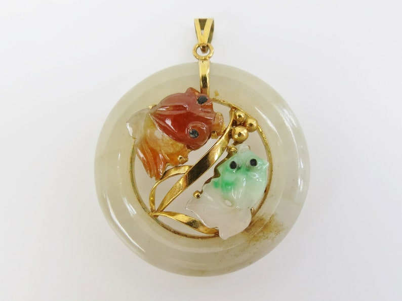 78044b2c8d50 Cheerful 14k Gold jade yin yang koi fish pendant