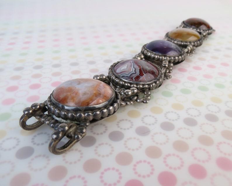 Super colorful Amethyst Plume Lace agate jasper VTG heavy sterling silver  bracelet