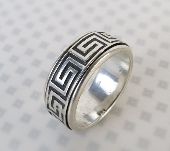 Three Vintage Sterling Silver Greek Key  Band Rings UK size M US size 6 12