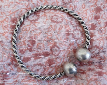 Old tribal wire twist with sphere / ball terminal sterling silver bangle cuff bracelet
