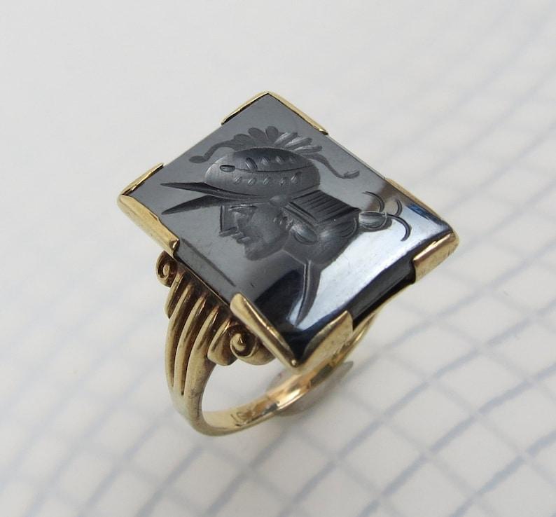 Estate Roman solider hematite intaglio 10k gold ring size 6 12