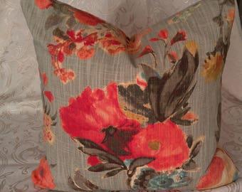 Floral Pillow/Feather Pillow/Down Pillow/Floral Decor/Accent Pillow/Blue Pillow/Red Pillow/Aqua Pillow/Garden Pillow