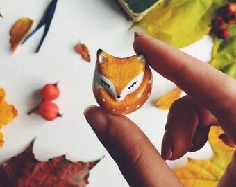 red fox brooch