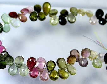 Top Quality 8 Inch Multi Color Tourmaline Faceted 45 Carat Pear Shape 4-5 To 4-7.5 mm Briolette