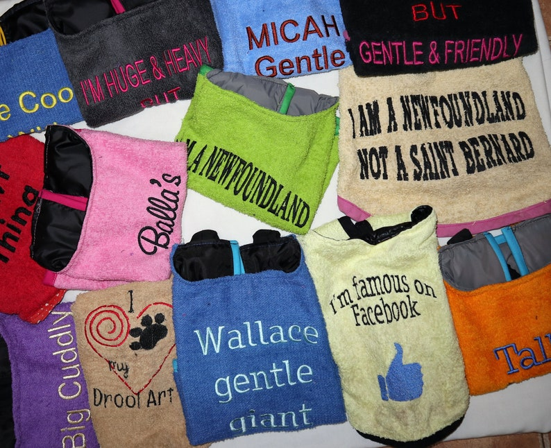wording color and dog/'s name Choose your color Personalized dog drool bibs FREE Postage and drool proof 100/% personalized