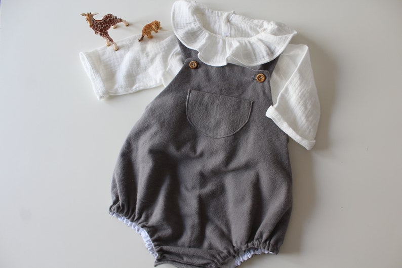 1287c8ab9649 Romper baby boy baby girl overalls bib flannel gray fall