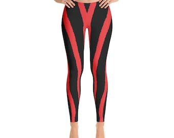 Red Zebra Stripe Leggings