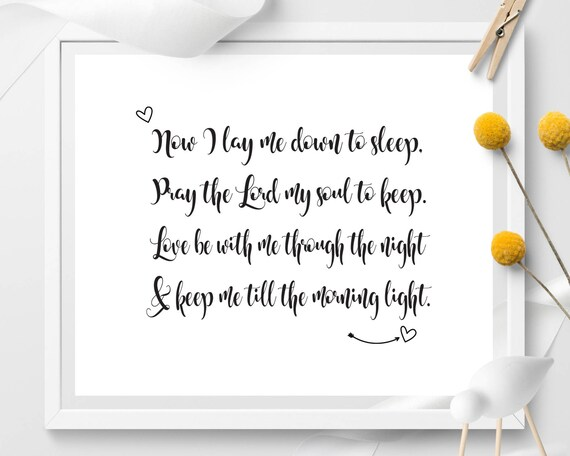 Now I Lay Me Down To Sleep Nursery Decor Bedtime Prayer Wall Etsy