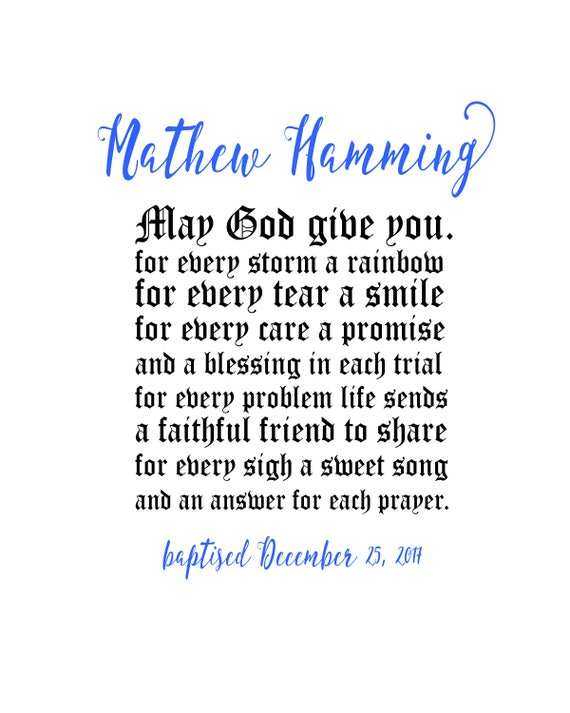 Gott Möge Sie Für Jeden Sturm Einen Regenbogen Druckbare Taufe Taufe Druck Personalisiert Taufgeschenk Junge Taufe Geschenk Geben Taufen Junge