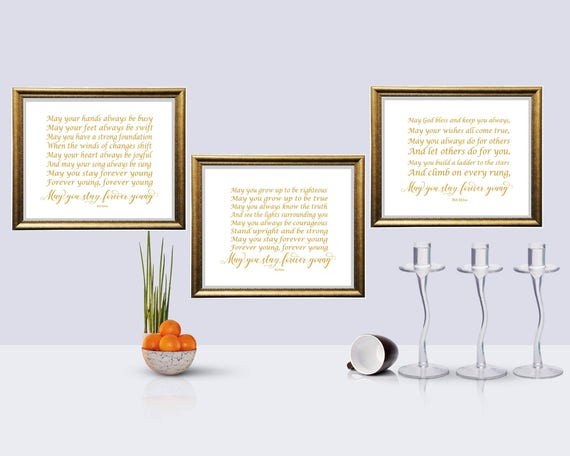 Horizontal Gold color print , May you stay forever young, Song Lyrics , Bob  Dylan Quote ,Nursery Decor,Baby Decor, Retro printable, Set of 3