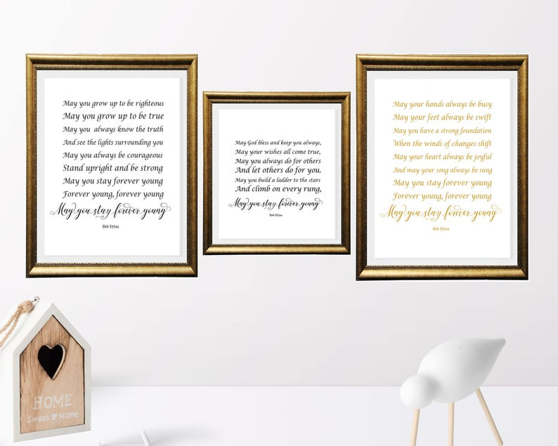 Gold color print, May you stay forever young, Song Lyrics art, Bob Dylan  Quote Printable,Nursery Decor,Baby Decor, Retro printable, Set of 3
