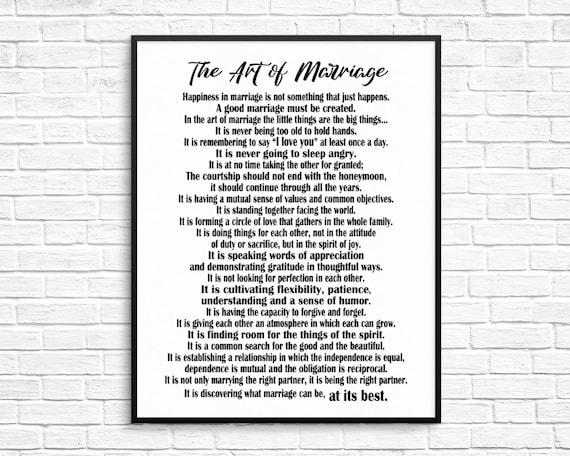 Die Kunst Der Ehe Gedicht Ausdrucken Von Wilferd A Peterson Jubiläumsgeschenk Hochzeitsgeschenk Wohnkultur Hochzeitsgeschenk Inspirierend Zitat